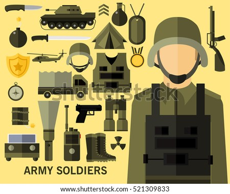 Army soldiers concept background. Flat icons.