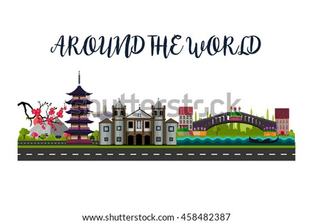 Around the world. Famous cities: Tokyo (Japan), Rio De Janeiro (Brazil), Venice (Italy). Vector illustration, eps 10. Travel stickers concept.