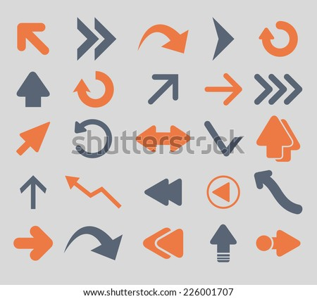 arrow, direction icons, signs, illustrations, vector, set