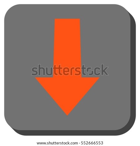 Arrow Down vector icon. Image style is a flat icon symbol in a rounded square button, orange and gray colors.