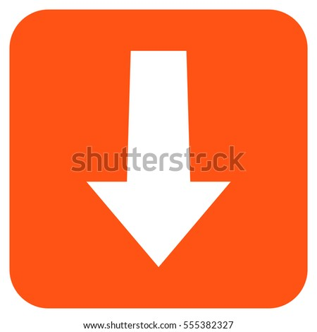 Arrow Down vector icon. Image style is a flat icon symbol in a rounded square button, white and orange colors.