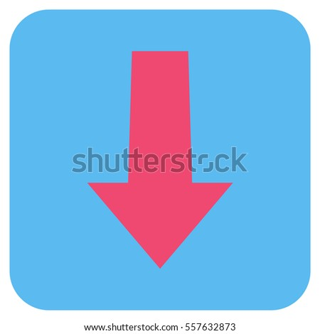 Arrow Down vector icon. Image style is a flat icon symbol inside a rounded square button, pink and blue colors.