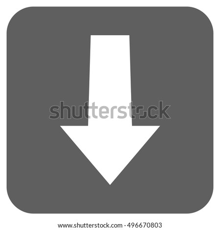 Arrow Down vector icon. Image style is a flat icon symbol on a rounded square button, white and silver gray colors.
