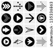 Arrow sign vector icon set. Simple circle shape internet button on gray background. - stock vector