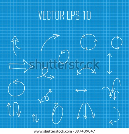 Arrows hand drawn vector set on stock vector 397439047 shutterstock arrows hand drawn vector set on blueprint paper background vector arrows icons hand drawn malvernweather Image collections
