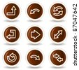 Arrows web icons set 1, chocolate buttons - stock vector