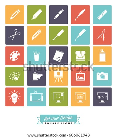 Art And Design Square Color Icon Vector SetCollection Of 25 Creative Tools Symbols In