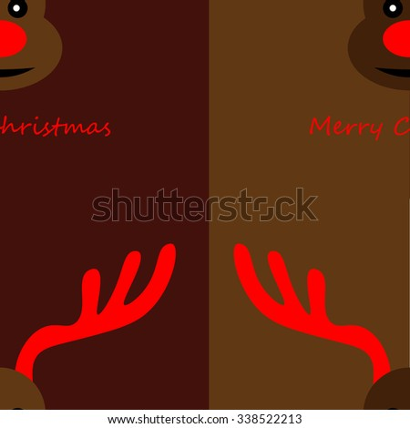 Art creative colorful new year winter holiday seamless wallpaper vector illustration greeting card of many deers with antlers and red nose with merry christmas text on brown background