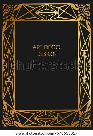 Art deco design border frame template background with golden lines