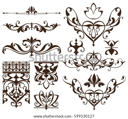 Art Deco Design Elements art deco design elements vintage ornaments stock vector 599530664