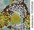 Art Deco Flower seamless pattern, retro style, vector illustration - stock vector
