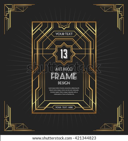 Art Deco Frame Design Your Design Stock Vector 421274107 ...