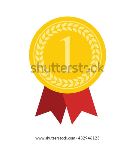 Art Flat Medal Icon for Web. 1 First Place Gold. Vector Illustration. EPS10
