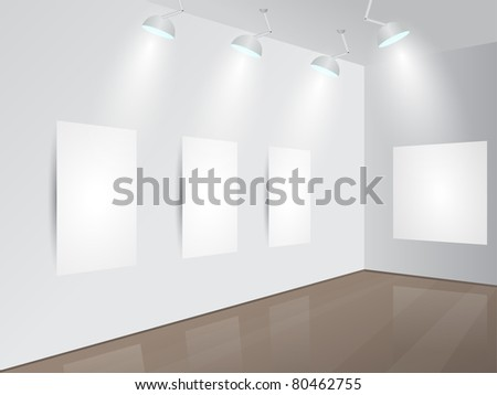 Art Gallery | Showroom with blank frames, spotlights and place for your text. Vector illustration.