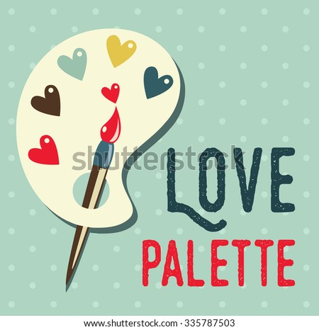 Art palette with paint brush flat icon,can be used as a poster