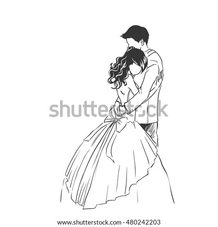 Art sketch of beautiful young bride and handsome groom. Wedding invitation card. Hand drawing vector background with space for text.