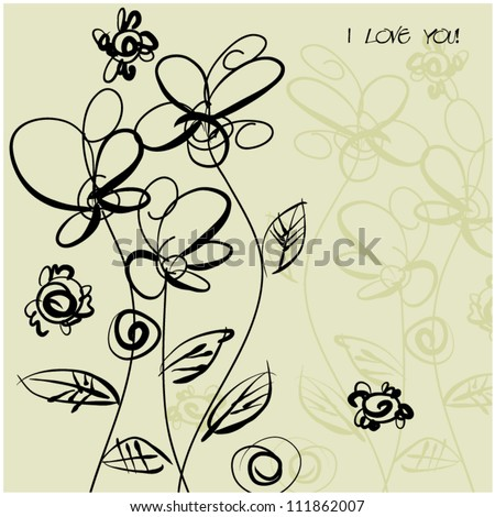 art sketching floral vector background