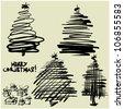 art sketching set 1 of vector christmas tree  symbols - stock vector