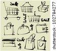 art sketching set of vector shopping  symbols - stock vector