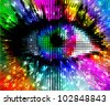 artistic colorful eye, abstract illustration - stock vector