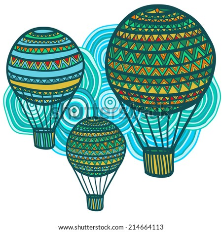 Artistic composition of hand drawn air balloons and cloud. Vector illustration.