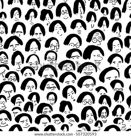 Artistic seamless pattern with crowd of people. Ink drawing simply faces in doodle style. Design for social media, backgrounds and textile or wrapping design
