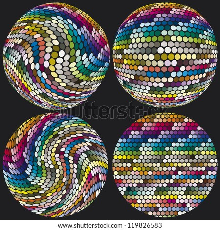 Artistic spheres with dots in hundreds of different colors for calibration, decoration, printing industry, on black background