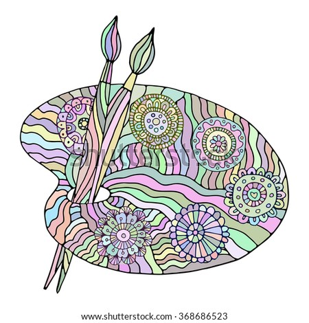 artists palette zentangle pattern coloring book image