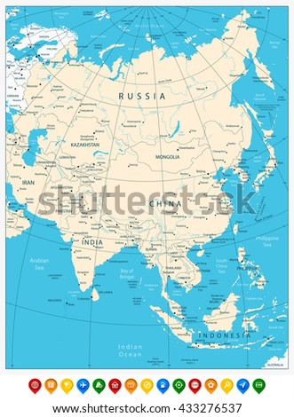 Detailed Asia Political Map Mercator Projection Stock Vector - Asia map labeled