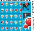 Asia Map and flags pointer icons set1 - stock photo