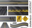 Asphalt road vector with tire tracks - stock