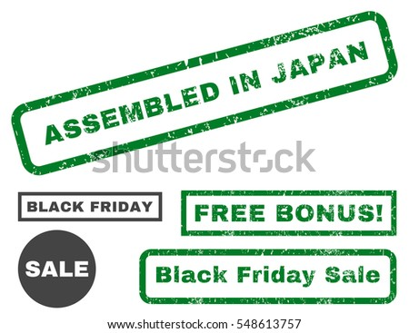 Assembled In Japan rubber seal stamp watermark with bonus images for Black Friday offers. Vector green and gray emblems. Tag inside rectangular banner with grunge design and scratched texture.