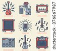Assorted Guitar Stuff. Line Design Vintage Icon Set. Vector Illustrations. - stock vector
