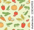 Assorted vegetables seamless pattern - stock vector