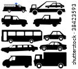 assorted vehicle silhouettes illustration car bus truck - stock vector