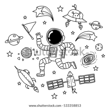 how to draw a simple moon with a rocket ship