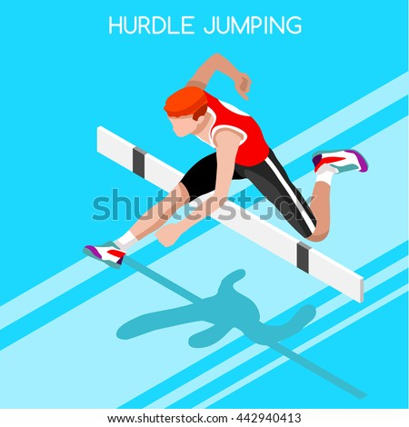 Athlete male run Hurdle long Jump Sportsman Game Icon Set. 3D Isometric Athlete runner. Sport track Athlete international race Competition. Sport Infographic Hurdler Jump olympics Vector People Image