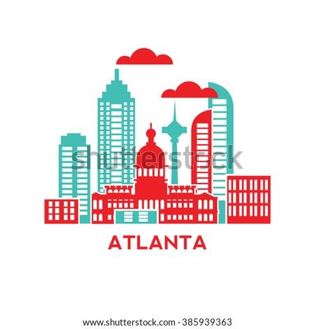 Atlanta city architecture retro vector illustration stock for Flat architecture design