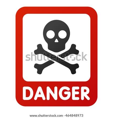 Attention Icons Danger Skull Face Black Stock Vector ...
