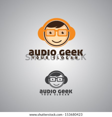Audio Geek Mascot Illustration Vector