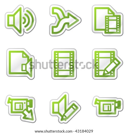 Audio video edit web icons green stock vector 59676532 shutterstock audio video edit web icons green contour sticker series ccuart Images