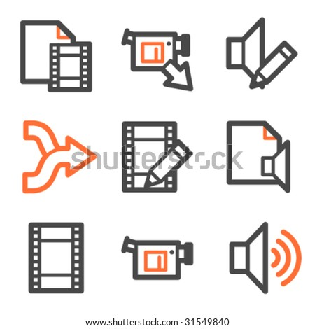 Audio video edit web icons square stock vector 295796468 audio video edit web icons orange and gray contour series ccuart Images