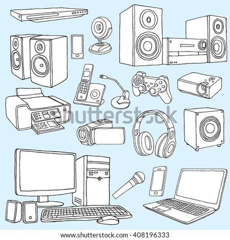Audio Visual System Appliances for Living Room  Doodle illustration of  audio video equipment Audio Visual System Appliances Living Room Stock Vector 408881848  . Living Room Appliances. Home Design Ideas