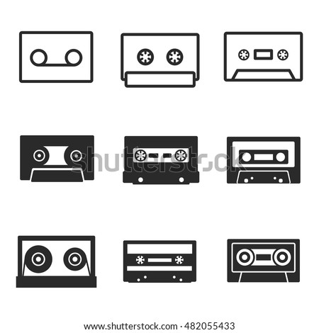audiocassette vector icons. Simple illustration set of 9 audiocassette elements, editable icons, can be used in logo, UI and web design
