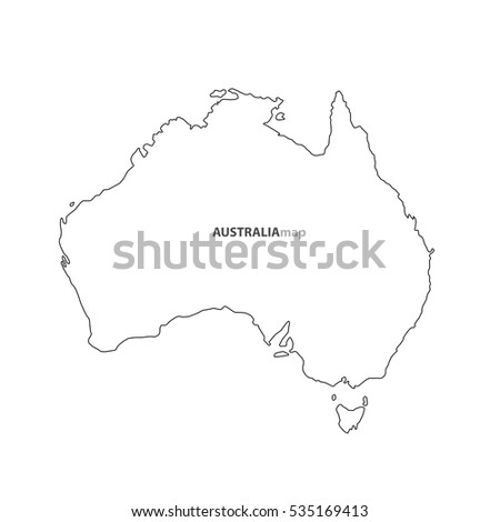 Australia country map outline graphic vector free hand drawing style