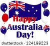 Australia Day background with flags and Australia flag balloons. Vector illustration. - stock vector
