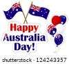 Australia Day stickers, flags and balloons. 10 EPS. Vector illustration. - stock vector