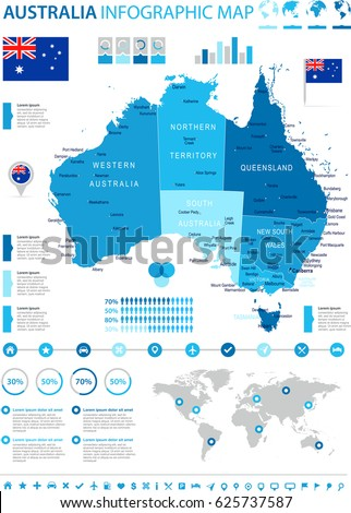 Commonwealth Australia Travel Guide Book Business Stock Vector - Australia map infographic