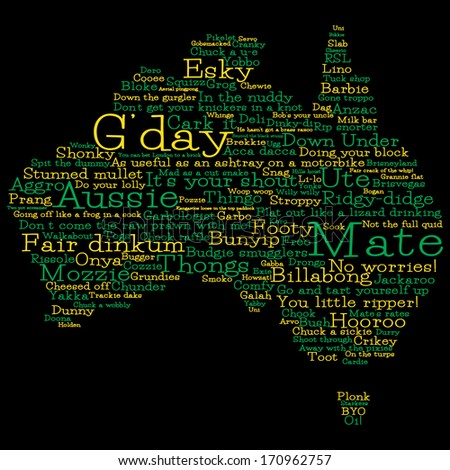 Australia Map Made From Australian Slang Words In Vector