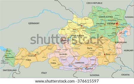 West Africa Map Hand Drawn Map Stock Vector Shutterstock - Political map of austria